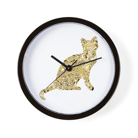 Wall Clock Golden Cat