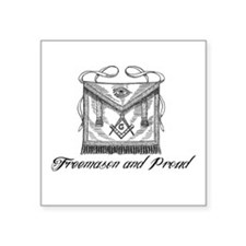 "Freemason and Proud Square Sticker 3"" x 3"""