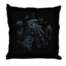 Masonic Fantasy Blue Throw Pillow