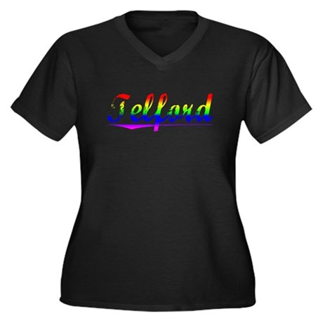 Telford, Rainbow, Women's Plus Size V-Neck Dark T-