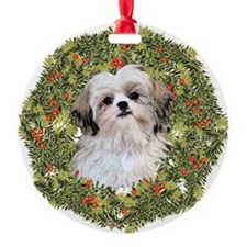 Shih Tzu Xmas Wreath Ornament