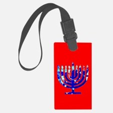 Red Glow Menorah Blue Hanukkah Large Luggage Tags