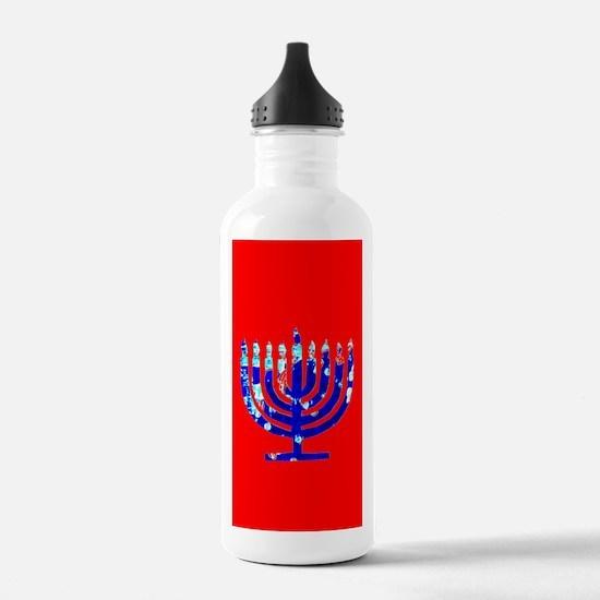 Red Glow Menorah Blue Hanukkah Water Bottle