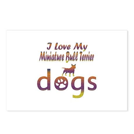 Miniature Bull Terrier designs Postcards (Package