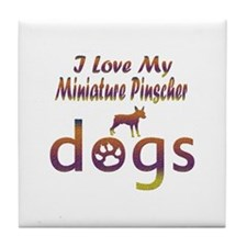 Miniature Pinscher designs Tile Coaster