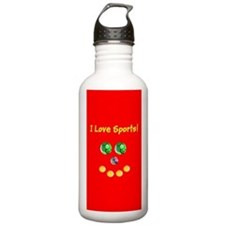 I Love Sports Assorted Balls Face Water Bottle