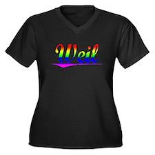 Weil, Rainbow, Women's Plus Size V-Neck Dark T-Shi