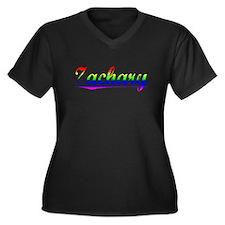 Zachary, Rainbow, Women's Plus Size V-Neck Dark T-