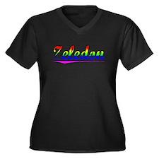 Zeledon, Rainbow, Women's Plus Size V-Neck Dark T-