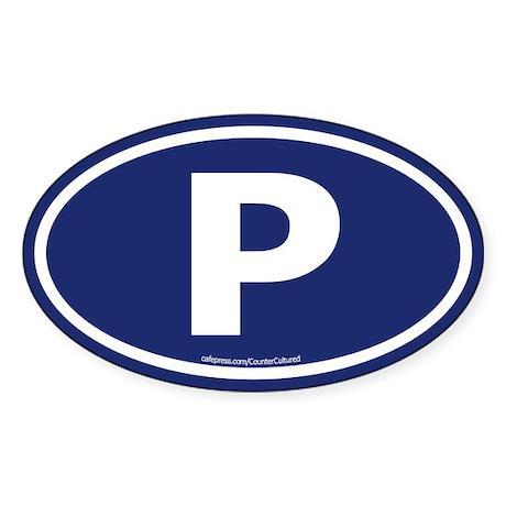 """P"" Euros Oval Sticker"