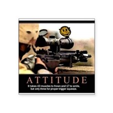 "Sniper Attitude Square Sticker 3"" x 3"""