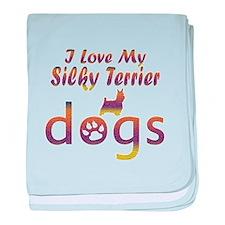 Silky Terrier designs baby blanket