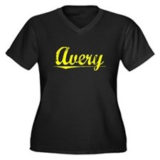 Avery, Yellow Women's Plus Size V-Neck Dark T-Shir
