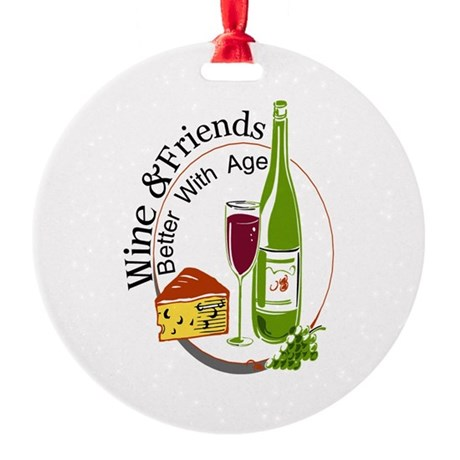 Wine and Freiends Round Ornament