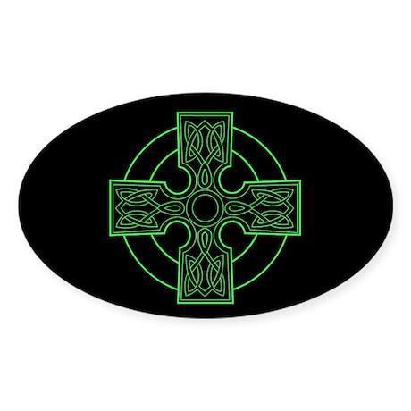 green celtic cross Oval Sticker