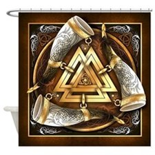 Norse Drinking Horn Valknut Shower Curtain