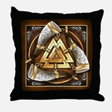 Norse Drinking Horn Valknut Throw Pillow