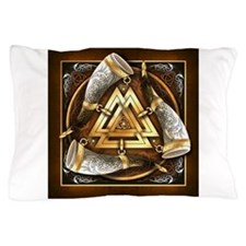 Norse Drinking Horn Valknut Pillow Case