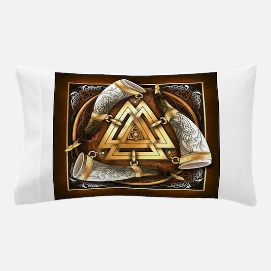 Norse Drinking Horn Valknut Pillow Case