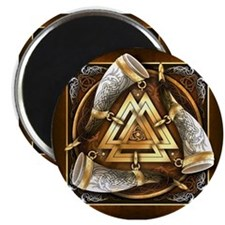 "Norse Drinking Horn Valknut 2.25"" Magnet (10 pack)"