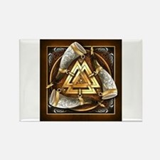 Norse Drinking Horn Valknut Rectangle Magnet