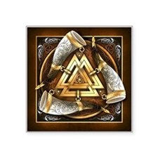 "Norse Drinking Horn Valknut Square Sticker 3"" x 3"""