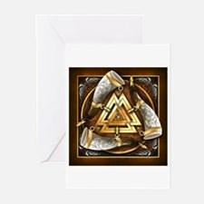 Norse Drinking Horn Valknut Greeting Cards (Pk of