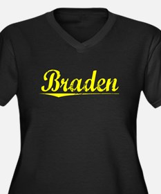 Braden, Yellow Women's Plus Size V-Neck Dark T-Shi