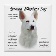 White GSD Tile Coaster