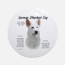 White GSD Ornament (Round)