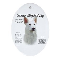White GSD Oval Ornament
