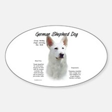 White GSD Oval Decal