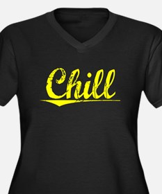 Chill, Yellow Women's Plus Size V-Neck Dark T-Shir