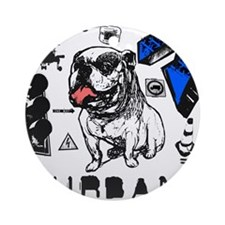 Cool Urban Grunge Bull Dog Design Grunged Ornament