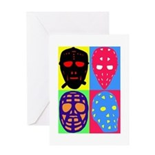 Vintage Hockey Goalie Masks Greeting Card