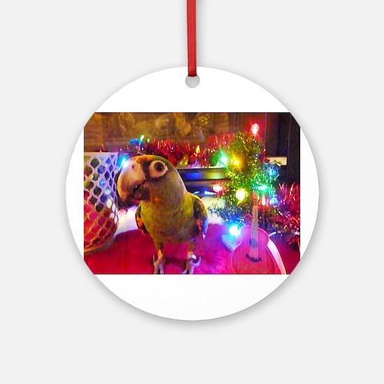 Parrot Rockstar Christmas Ornament (Round)
