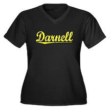 Darnell, Yellow Women's Plus Size V-Neck Dark T-Sh
