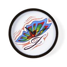 J Butterfly Wall Clock