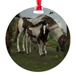 Painted Horse and Foal Round Ornament