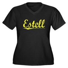 Estell, Yellow Women's Plus Size V-Neck Dark T-Shi
