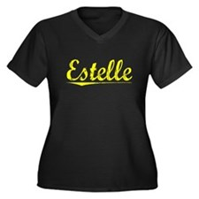 Estelle, Yellow Women's Plus Size V-Neck Dark T-Sh