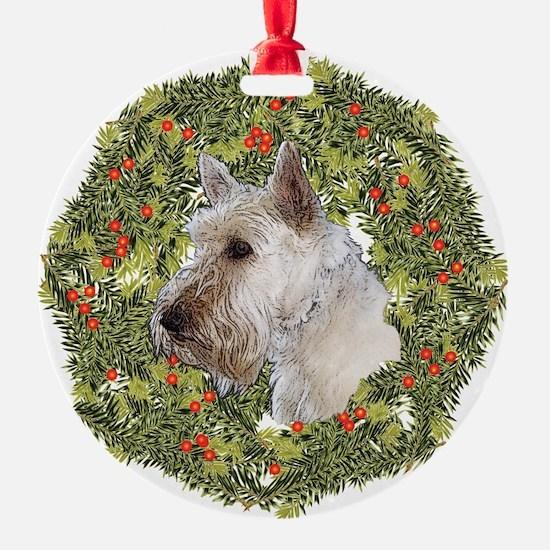 Scotty (Wheaten) Xmas Wreath Ornament