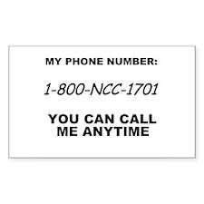 Star Trek Phone Number Rectangle Decal