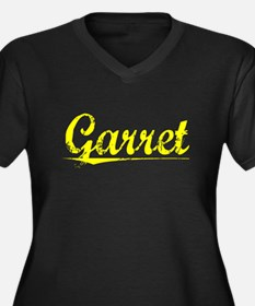 Garret, Yellow Women's Plus Size V-Neck Dark T-Shi