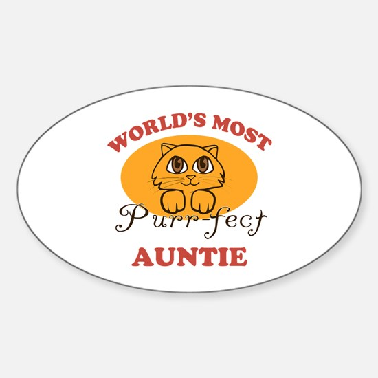 One Purrfect Auntie Sticker (Oval)