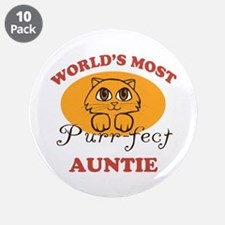 """One Purrfect Auntie 3.5"""" Button (10 pack)"""