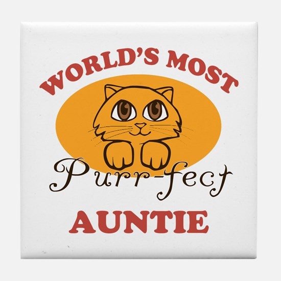 One Purrfect Auntie Tile Coaster