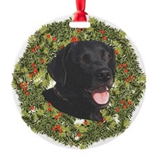 Labrador Retriever Xmas Wreath Ornament