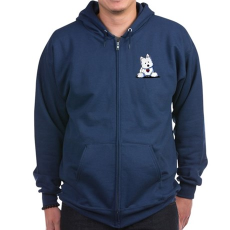 Westie Doorway To My Heart Zip Hoodie (dark)