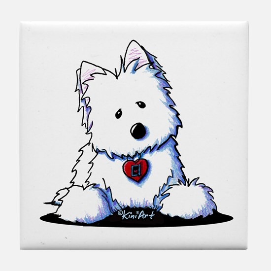 Westie Doorway To My Heart Tile Coaster